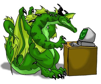 a green western dragon sitting at a desk with a computer on it