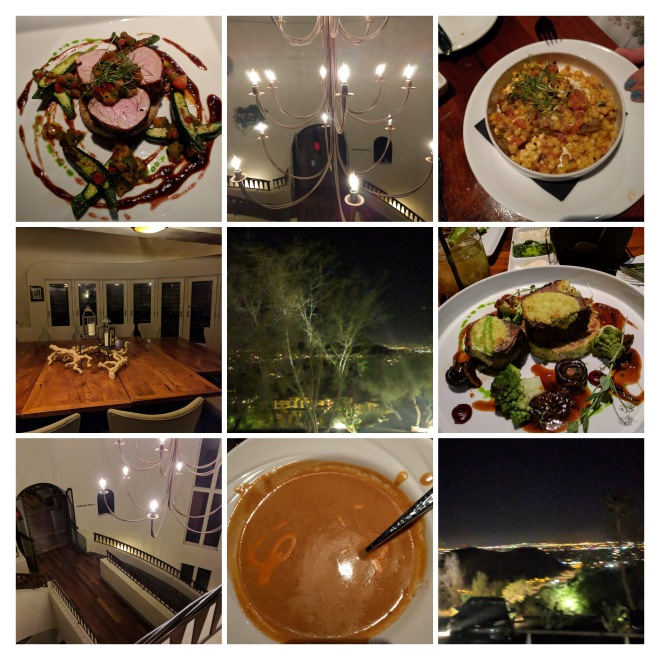 collage of pictures of food, view of city lights and interior of a building