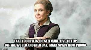 Picture of artist rendering of General Leia Organa. Text at bottom reads: Take your pills. Do self care. Live to flip off the world another day. Make Space Mom proud.